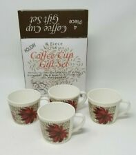 Set 4 Melamine Coffee Cups Poinsettia Christmas Holiday Design with Box