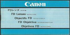 Canon FD Objektive - Deutsch, Japanisch, Englisch, Französisch, Spanisch