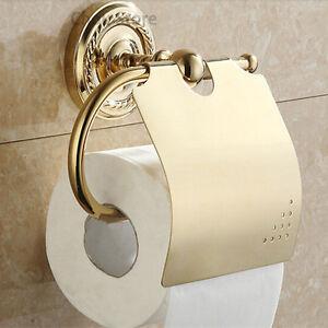 Bathroom Gold Plated Brass Wall Mount Toilet Paper Holder Roll Tissue Bar Holder