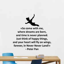 Peter Pan Quote Wall Decal Walt Disney Poster Vinyl Sticker Gift Decor 128bar
