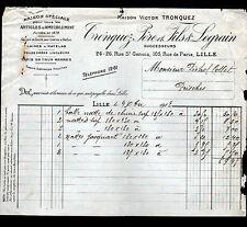 """LILLE (59) ARTICLES D'AMEUBLEMENT / LAINE TOILE TAPIS """"TRONQUEZ & LEGRAIN"""" 1912"""