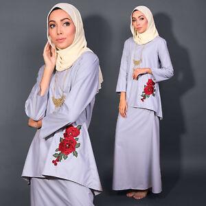 New Fashion Women Muslimah LongSleeve BajuKurung Embroidery PlusSize Ash Grey