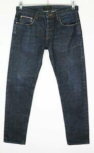"TED BAKER LONDON Navy Denim Men's Tapered Jeans Size 32R L32 (Waist 17 1/2"")"