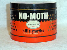 Vintage 1950 Advertising Metal Tin Reefer-Galler NO-MOTH Round Kills Moths EUC!