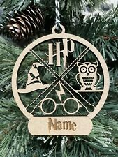 Personalised Harry Potter Themed Christmas Tree Decoration Wood MDF Gift Idea
