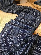Vintage Style Hmong hand weaved Zigzag Cotton Fabric Indigo Craft Textile