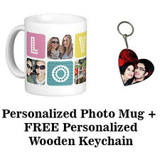 Personalized Photo Mug Printing With Free Wooden Heart Photo Key-chain