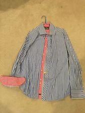 Robert Graham Long Sleeve Lt. Blue Stripes with Pink/Fuchsia Cuffs, XL, NR!