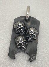 Steel Flame '3 Amigos' Darkness Skulls EBO Fatty Dogtag Pendant & SeedBead Chain
