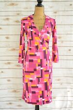 Isaac Mizrahi TARGET - Pink PURPLE square print 3/4 sleeve faux wrap dress, XS