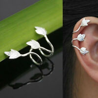 1pc Leaf Clip On Ear Cuff Wrap Earring Silver Plated No Piercing Punk Jewelry