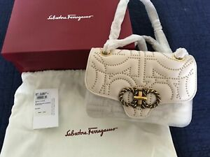 NWT Salvatore Ferragamo Calf Leather Quilted Stud Gancini Bag $2300