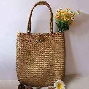 Women Straw Bag Handbag Shoulder Handmade Knitted Beach Bag Large