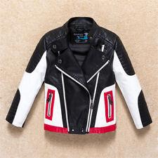 Faux Leather Boy Girl Kids Childs Biker Rocker Zip Up Jacket Coat BLACK 1-11yrs
