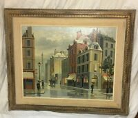 Original Oil on Board Paintings, by A. Purcell, French Street Scene, Set of 2