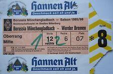 Billet 1985/86 Bore. Mönchengladbach-werder Brême
