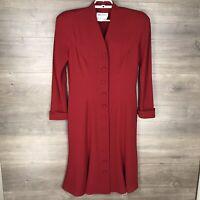 Vintage David Warren For Saks Women's Size 10 Long Sleeve Button Down Dress Red