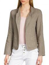 Caspar Bzr004 Ladies Linen Blazer Summer Jacket Short Mud 42 XL Uk14 Us12