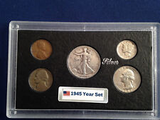 1945 United States Five Coin Silver Year Set Classic Coins in Display Case