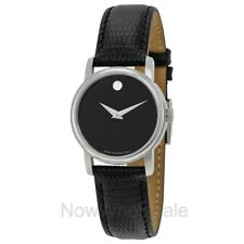 NEW - Movado Museum Black Dial Black Leather Strap Ladies Watch 2100004