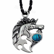 "Silver Unicorn Horse Turquoise Men Women Pewter Pendant with 20"" Choker Necklace"