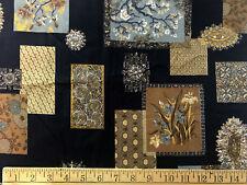 Schwartz Liebman Textiles linen Fabric print 40 x 36 Brown black F221