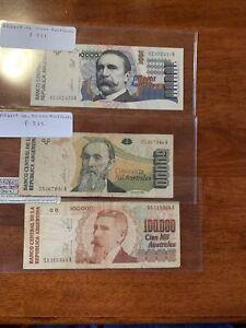ARGENTINA 10,000 50000 10000 AUSTRALES ND 1990 P 334 UNC P335 336 G