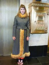 60s 70s Russian Princess Coat Midi Gray Wool w Red Fox Fur Trim Sz Sm Boho Chic