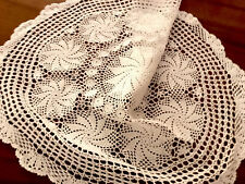 More details for vintage hand crochet large circular white table centre cloth 31 inches diameter