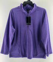 Erika Womens Size 1X Long Sleeve Purple Pullover Mock Neck Zipper Knit Top NWT