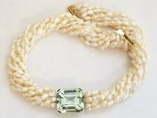 Chunky Green Amethyst 9 Strand Pearl Necklace w 14k Gold Clasp ~ STUNNING
