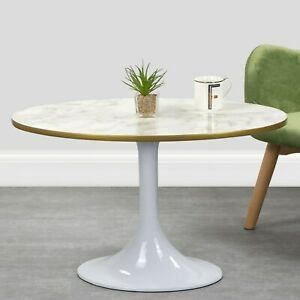 White Marble High Gloss Coffee Table in Oval Tulip Shape