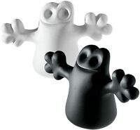 A di Alessi - AMDR01 S3 Carlo, Set of 2 ghost bottle stopper : black & white