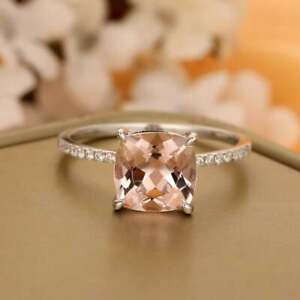 2.25Ct Cushion Cut Pink Morganite Solitaire Engagement Ring 14k Rose Gold Finish