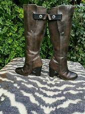 G-Star RAW taupe/dark brown leather tall knee high boots UK size 6 EU 39