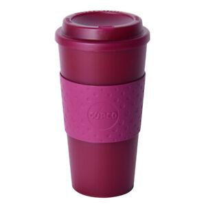 Copco Acadia Travel Reusable Mug 16 oz BPA Free Plastic, Translucent Marsala Red