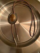 Vintage Amber 25x18 Oval Cab Cabochon Gem Stone Gemstone Bola Bolo Tie Silv  Tip