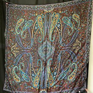"Vintage Silk Head Scarf Floral Paisley Print Sheer Multicoloured 40"" Square"