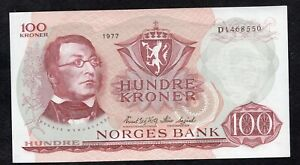 100 Kroner From Norway 1977 Unc