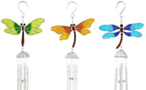 Set of 3 Colourful Dragonfly Windchimes - Stained Glass Spiral Pipes Sun Catcher