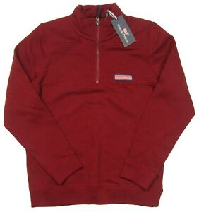 Vineyard Vines Boys Crimson Red Classic Terry 1/2 Zip Shep Shirt