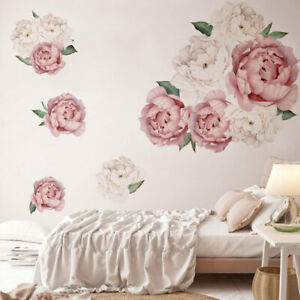 Peony Rose Wall Stickers Removable Flowers  Nursery Decals Kids Girl Living Room