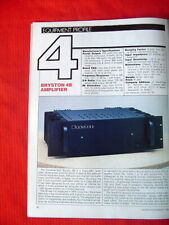 "Bryston 4B power amplifier test review ""Audio"" magazine 11/85"