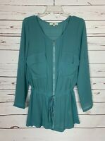 Ya Los Angeles Boutique Women's M Medium Blue Silk Blend Spring Blouse Tunic Top