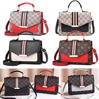 Women Checkered Crossbody Purse Contrast Strip PU Handbag Messenger Shoulder Bag