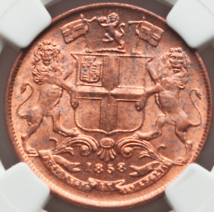 1858 (W) Quarter 1/4 Anna East India Co. NGC MS64 RED Absolute Gem Bright Luster