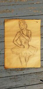 """13 BALLET  &  NUDE FEMALE ORIGINAL CHARCOAL DRAWINGS 18""""X 24"""" Late 1940's"""