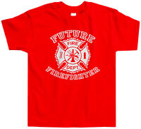 Future Firefighter Shield Toddler T-Shirt Tee Fireman Fire Truck Cute Funny