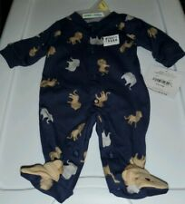 NEW CHILD OF MINE CARTER'S PREEMIE BABY BOY LION & ELEPHANTS FOOTED SLEEPER