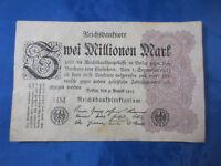 Geldschein Reichsbanknote Zwei Millionen Mark 'HM' Berlin 1923